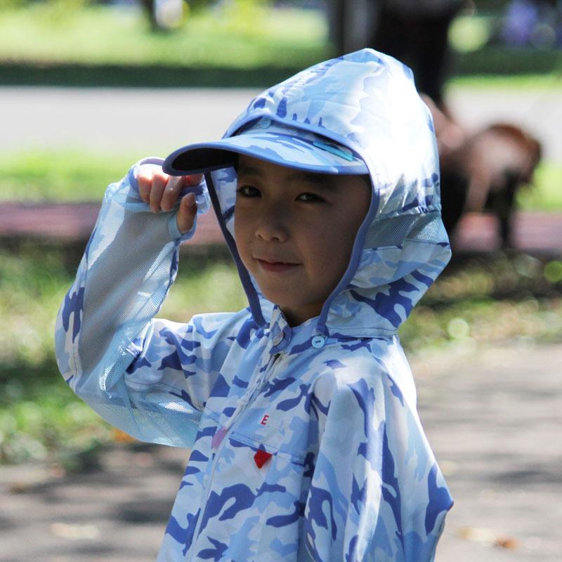 サンブロックサンバイザー カモフラブルー 子供~大人 紫外線対策