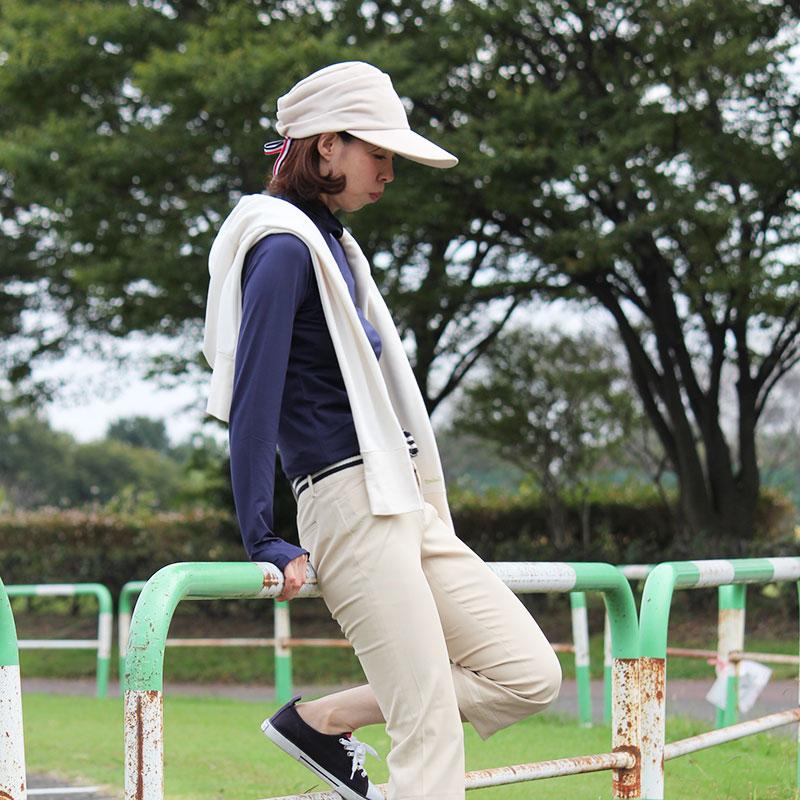 紫外線対策 UVカットキャプケット 深くかぶれて小顔効果! 濃ベージュ