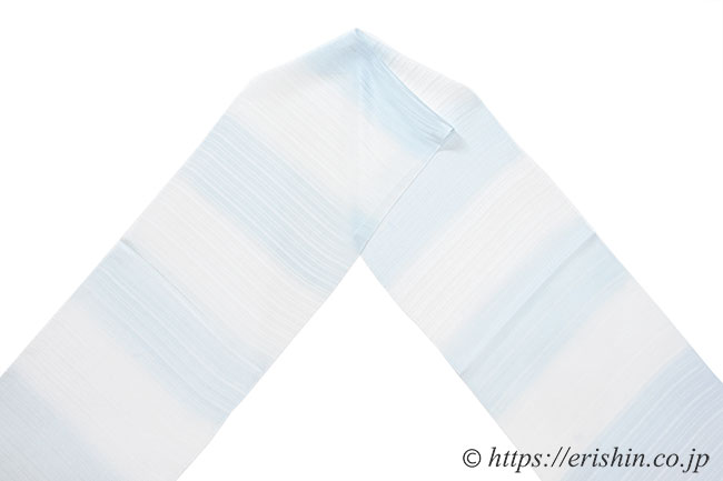 帯揚げ(段暈かし/水藍色・乱絽楊柳)[夏・単衣向]