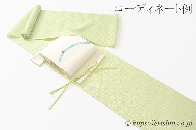 小千谷縮(チェック/ライムイエロー)広巾