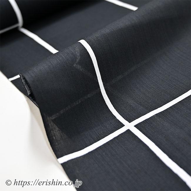 誉田屋源兵衛 浴衣(火消し/黒×白・綿麻)広巾