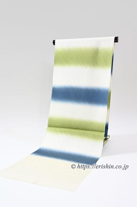 帯揚げ(二色段 紐流地紋/青褐色×草色)