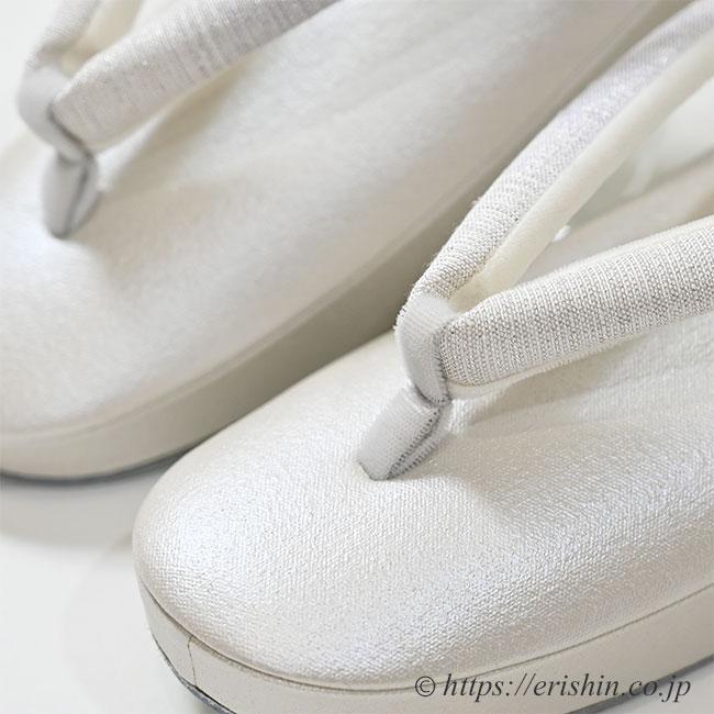 真綿入り草履(帆布パールホワイト/西陣織 薄藤色暈し花緒)Lサイズ