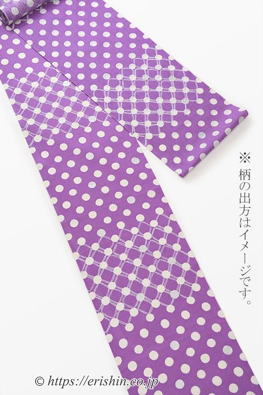 誉田屋源兵衛 浴衣(水玉変わり市松/オーキッドローズ・綿麻)広巾