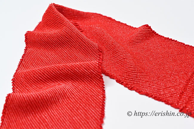 帯揚げ(赤/総絞り/お子様用)[七五三向け] ※特別価格