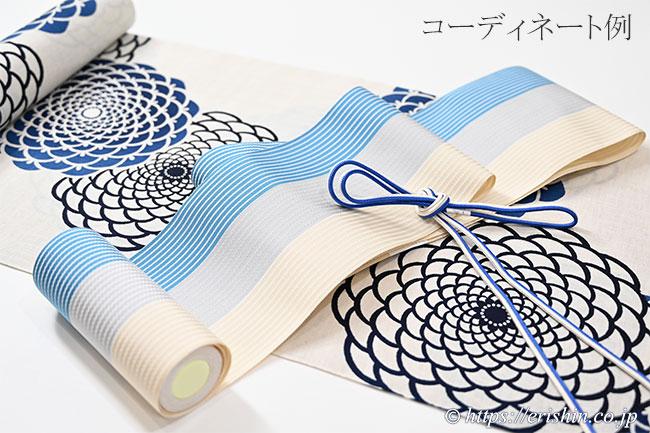 博多半幅帯(麻絹/三色縞・縹×灰×薄砥粉色)