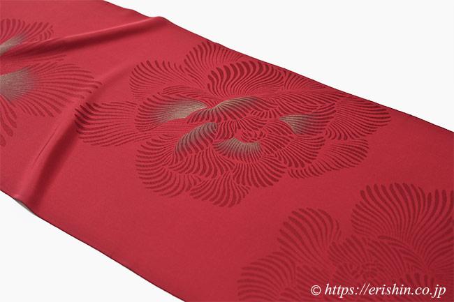 小紋(金泥牡丹/濃紅色)