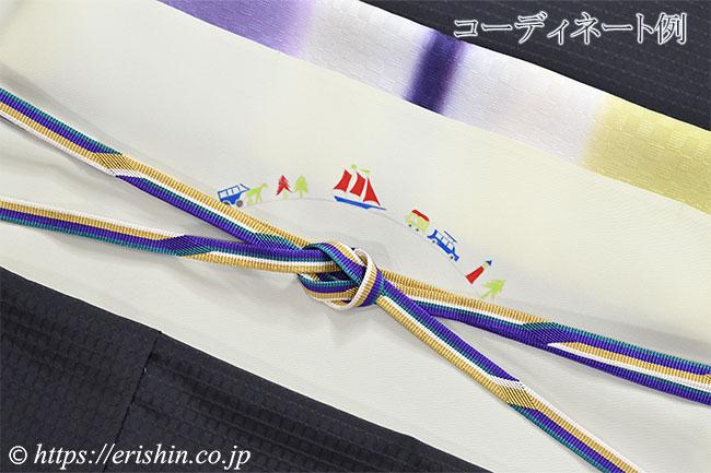 帯揚げ(三色段 幾何市松地紋/深紫×藤紫×黄蘗色)