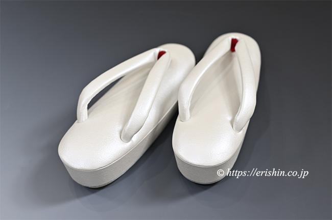 真綿入り草履(帆布アイボリーホワイト/通し坪)Mサイズ