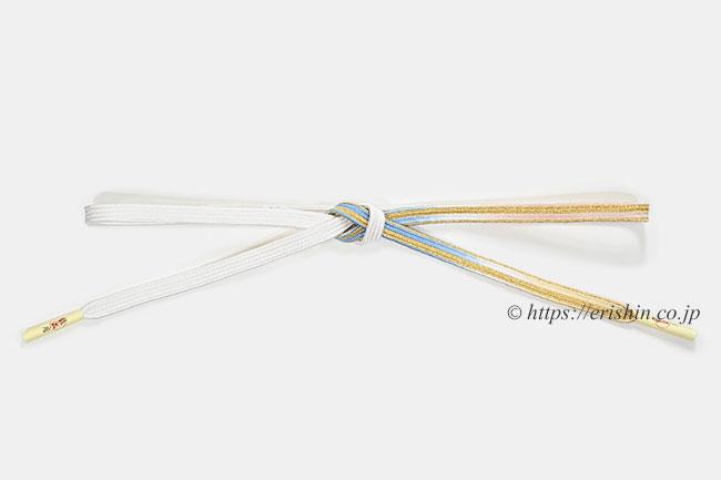 帯締め 貝の口組(空色×白)