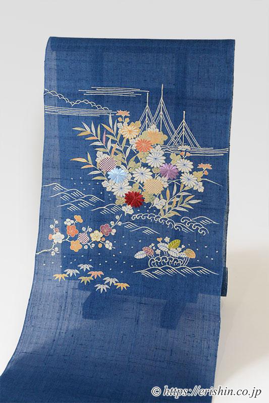 染名古屋帯(御所解き/青藍・生紬)