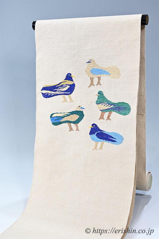 八寸織名古屋帯(鳥の集い・エジプトの鳩) 洛風林