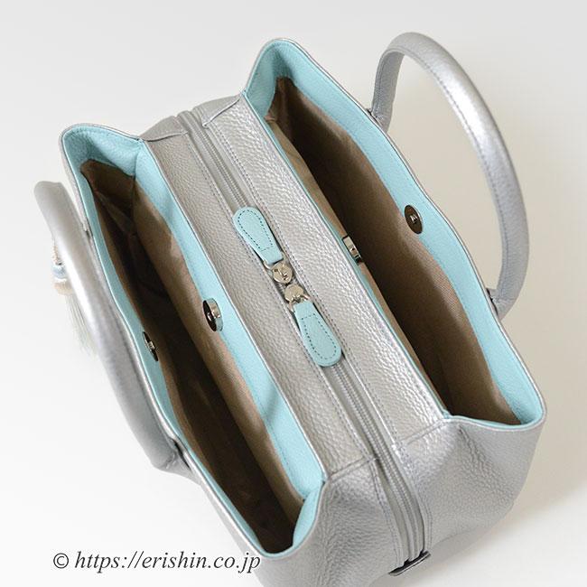 牛革シュリンクバッグ(銀鼠×白群/タッセル付き・小)