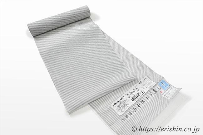 小千谷縮(三本縞/薄白鼠色)広巾