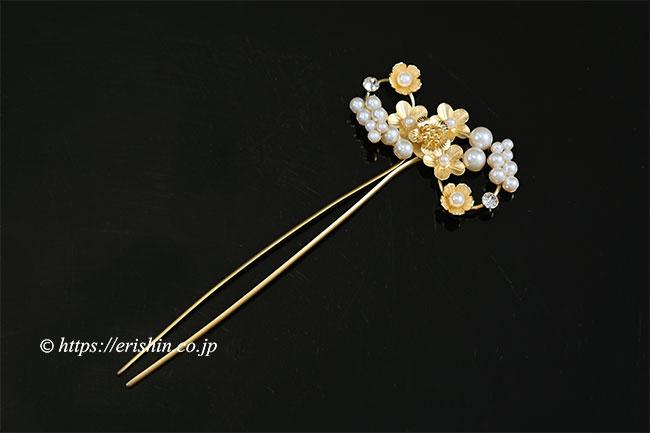 パール風かんざし(小花アンティーク/ゴールド調)