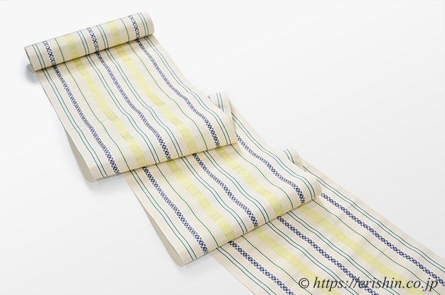 博多八寸織名古屋帯(献上/ベージュに黄壁色)