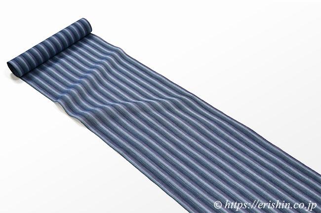 小千谷縮(濃地に映える白の縞/青褐色)広巾
