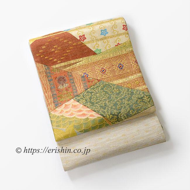 袋帯(裂取モール更紗) ※特別価格