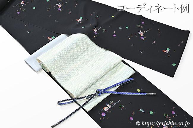 九寸織名古屋帯(曼陀羅/若竹色) 夢訪庵