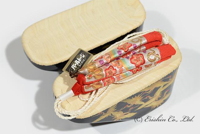 七歳児向 畳表木履台/七五三(ぽっくり)&刺繍ハナオ【ご注文後の花緒挿げ】