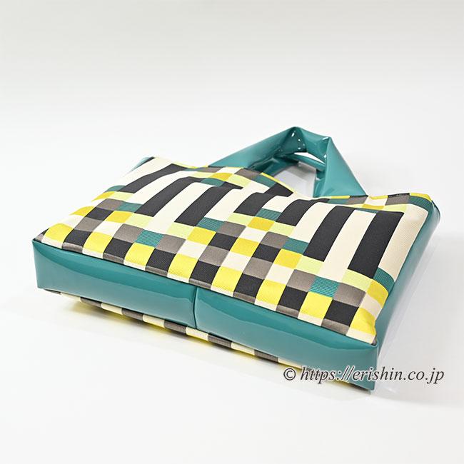 エナメルトートバッグ(博多織/青磁色ボーダー)