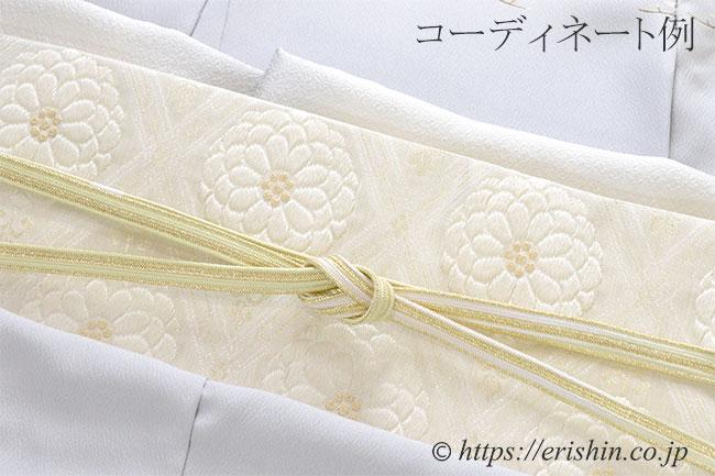 帯締め 貝の口組(若菜色×白金)