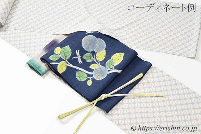 染名古屋帯 森健持・作(紫陽花に蜻蛉・辻ケ花/紬)[夏・単衣向]