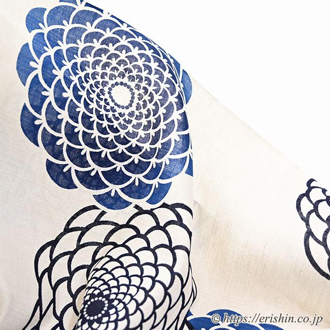 誉田屋源兵衛 浴衣(綿麻・丸菊/本藍)広巾
