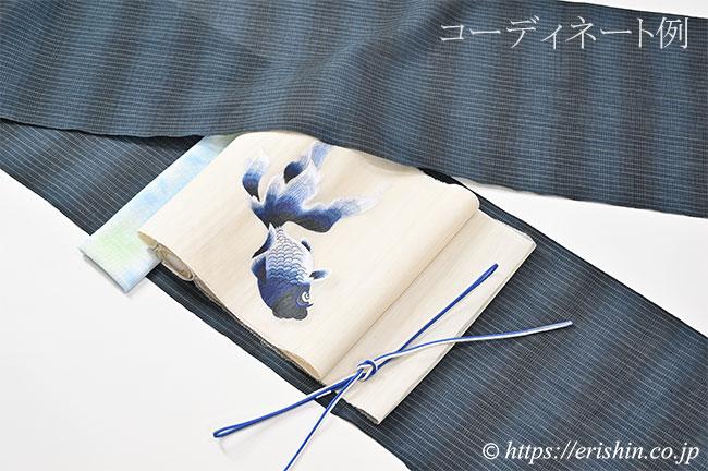 帯締め 細組(青色×白)[夏・単衣向]