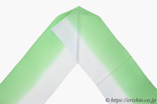 帯揚げ(小格子バイカラー/淡萌黄×藍白・絽)[夏・単衣向]