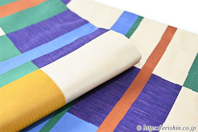 袋帯(綴れ段市松)木屋太