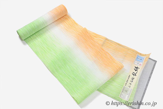 小千谷縮(乱絣/柑子色×萌黄色)広巾