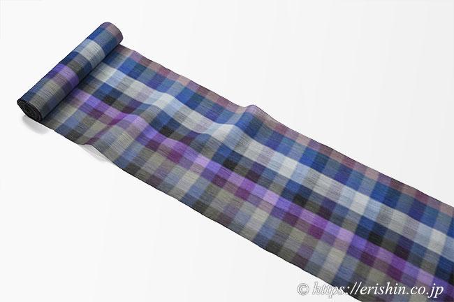 小千谷縮(モーブブロック/蒲葡&深紺&薄墨や丁子茶)広巾