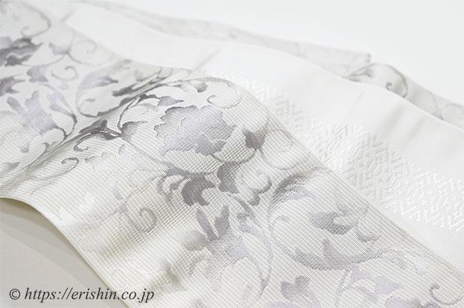 博多小袋帯(唐花グレイ&献上)リバーシブル