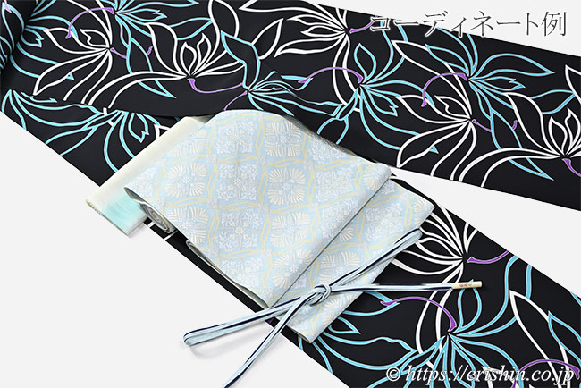帯締め 遠州組(三枚縫い合わせ木の葉/水縹に勝色)