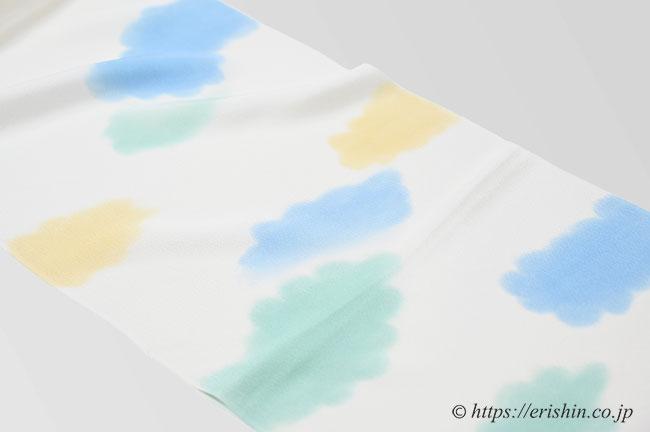 帯揚げ(ふわふわとした雲/白錬色地)