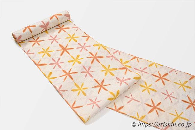 誉田屋源兵衛 浴衣(弁柄雪の華・綿麻)広巾