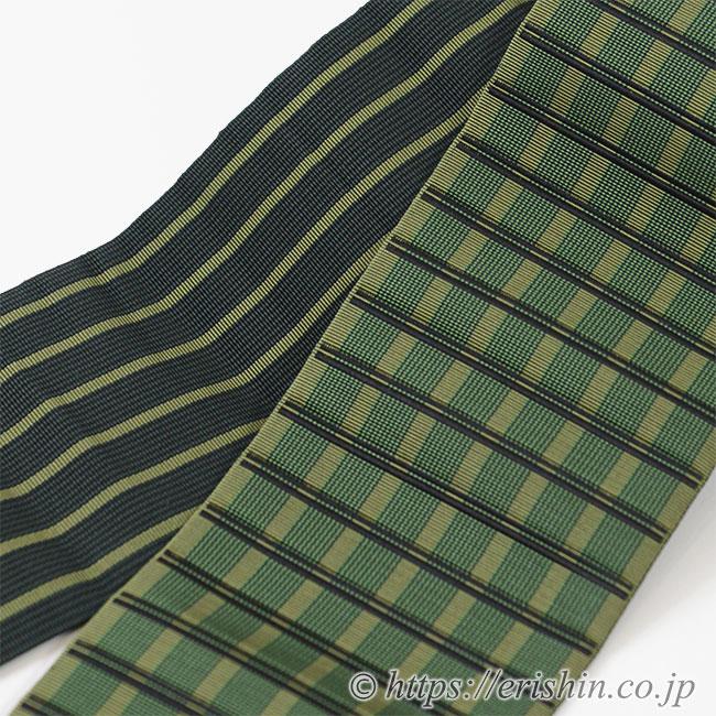 角帯(博多織・手織り/段浮格子)リバーシブル