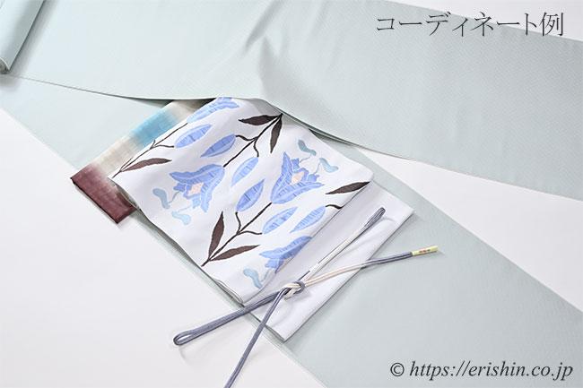 九寸織名古屋帯(百合文/月白色) 洛風林