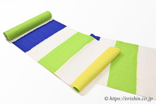 誉田屋源兵衛 浴衣(熨斗目/青×黄×緑 ・綿)広巾