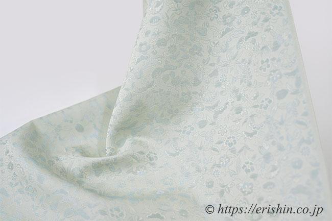 洗える絹の着物 丹後織御召(桃山小紋/淡青磁色)