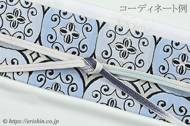 帯揚げ(菱文重ね/白藍色)