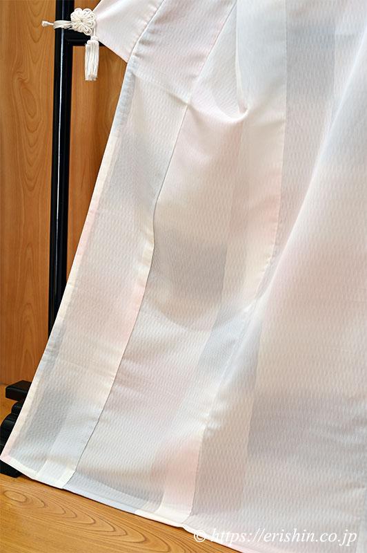 明石縮(四色石畳文/錫色と撫子色の濃淡暈かし)
