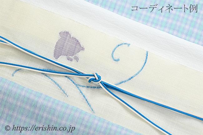 八寸織名古屋帯(波千鳥・白地/麻)[夏・単衣向]