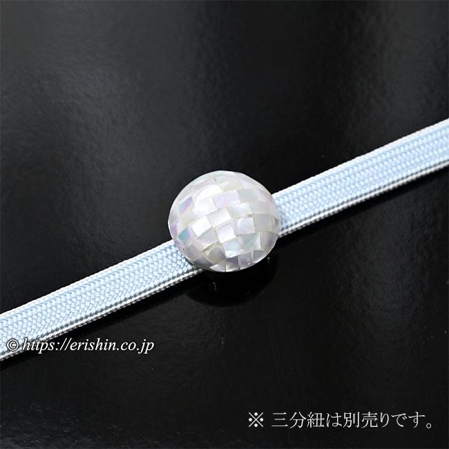 帯留め(螺鈿/白市松・オーバル)