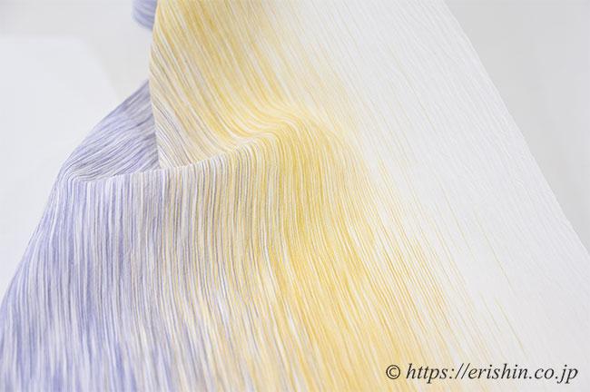 小千谷縮(乱絣/紅掛空色×支子色)広巾