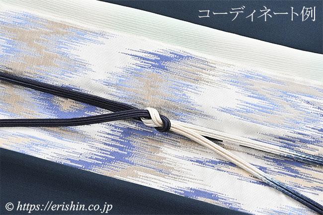 九寸織名古屋帯(太子間道/白錬色) 洛風林