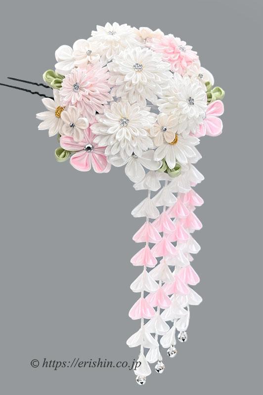 振袖用髪飾り(つまみ細工/花手鞠/白)