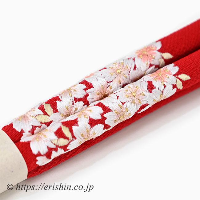 帯締め 丸ぐけ(紅色桜/刺繍)[七五三向け]