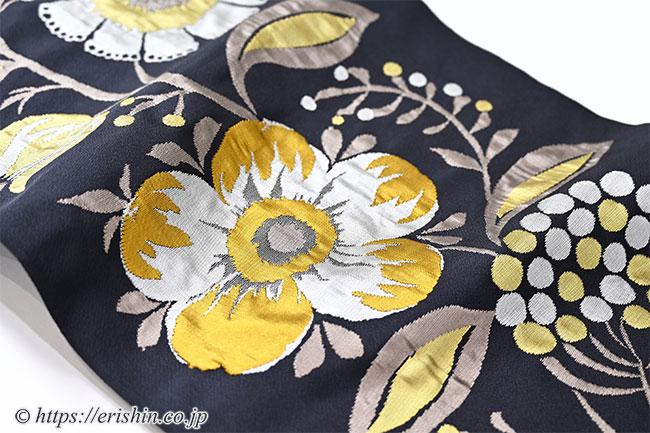 九寸織名古屋帯(キエフ花唐草/橡色〔つるばみいろ〕) 洛風林